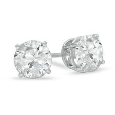 2 CT. T.W. Diamond Solitaire Stud Earrings in 14K White Gold ($4,115) ❤ liked on Polyvore featuring jewelry, earrings, screw back earrings, 14 karat gold earrings, diamond stud earrings, 14k stud earrings and sparkly stud earrings