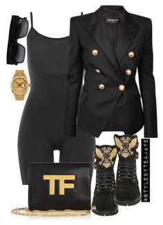 """Untitled #2132"" by stylebyteajaye ❤ liked on Polyvore featuring SPANX, Balmain, Tom Ford and Rolex"