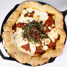 Sausage & pepper skillet pizza -The Chew - Toppings and cheese sound excellent, I'd bake it. I'll probably make it.