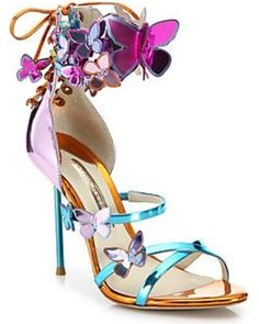 Sophia Webster Harmony Metallic Leather Butterfly Sandals In Rosa Fancy Shoes, Pretty Shoes, Crazy Shoes, Beautiful Shoes, Cute Shoes, Me Too Shoes, Shiny Shoes, Metallic Shoes, Metallic Leather