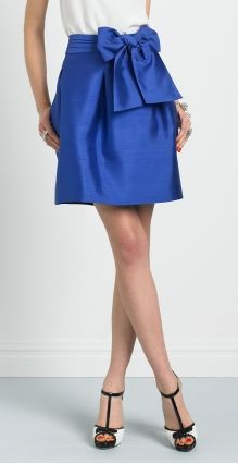 I need a high waisted skirt with a bow. Namely a cobalt blue one.