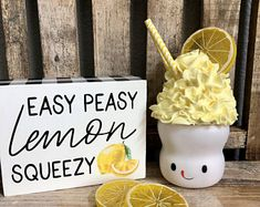 Lemon Faux Whip Cream Mug Topper for Marshmallow Mug Lemon Crafts, Cute Marshmallows, Cream Mugs, Lemon Kitchen Decor, Fake Food, Tray Decor, Summer Crafts, Confectionery, Whipped Cream