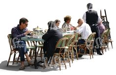 People sitting in a street cafe