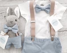 Blue bowtie onesie with matching shorts/pants and tan