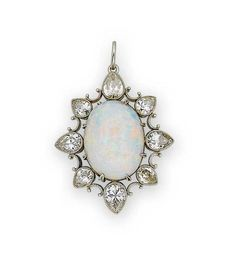 An early 20th century opal and diamond pendant, circa 1910  Set to the centre with a cabochon opal within an openwork surround of millegrain set pear-shaped diamonds, diamonds approximately 3.10 carats total, length 3.9cm.