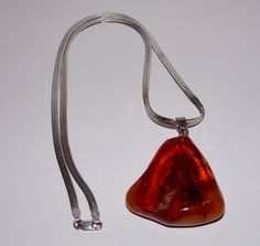 VINTAGE 13g BALTIC AMBER HONEY PENDANT STERLING SILVER CHAIN 6.5g LRG TRIANGLE #Unbranded #Pendant
