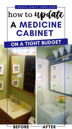 Builder basic medicine cabinets can be so ugly. Ours sure was! But you can't beat the storage. So we decided to get creative with a DIY medicine cabinet makeover! The results are beautiful - and the budget was small. Check it out!