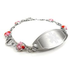 Red Millefiori Glass Pink Pre-Engraved /& Customized Dialysis Charm Medical Bracelet My Identity Doctor
