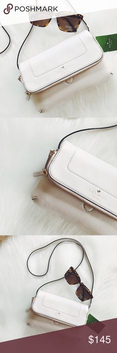 """🖤 S A L E 🖤 Kate Spade Mariana Crossbody Absolutely stunning crossbody, leather material, tags on, dust bag included, dimensions: 9"""" W x 5"""" H x 1"""" D, strap drop 21"""", magnetic flap, 2 way top zip closures, signature lining, KS gold logo.                            🐣n o • t r a d e s🐣                    s m o k e • f r e e • h o m e             s a m e/n e x t • d a y • s h i p p i n g kate spade Bags"""