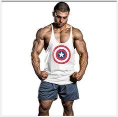 Muscleguys Brand Super Hero Captain America Gyms Singlets Mens Tank Top Shirt Bodybuilding Stringer Tank Top Cotton Fitness Vest