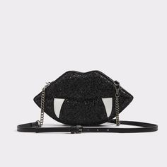 Thirien Sink your teeth into our sexy glitter lip crossbodywith fangs. Halloween or not, this bad is sure to please with its top zipper closure. Glitter Lips, Party Bags, Aldo Shoes, Black Purses, Accessories Shop, Handbags, My Style, Teeth, Women