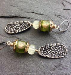 Peridot dangle drop earrings long and chic boho by Mollymoojewels