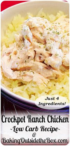 Easy four ingredient low carb and keto Crockpot Ranch Chicken