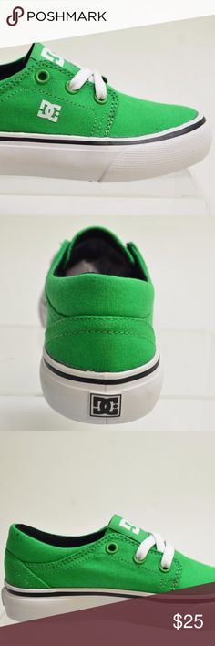 DC TRASE TX Boys Green Canvas SKATING SNEAKERS DC TRASE TX Boys Green  Canvas SKATING SNEAKERS