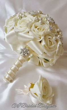 Ivory Bridal Brooch Bouquet Jewelled Bouquet by GogaIvGallery