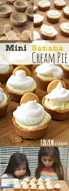 banana pie Check out these easy and delicious Mini Banana Cream Pie Recipe! Perfect for your Minions themed movie night and birthday party celebration! Mini Desserts, Bite Size Desserts, Easy Desserts, Delicious Desserts, Southern Desserts, Mexican Desserts, Plated Desserts, Healthy Desserts, Mini Pie Recipes