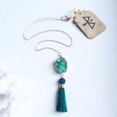 Green Agate Druzy Pendant Necklace  Green Tassel by ArcherandBull
