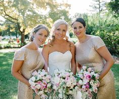Long Gold Sequinned Bridesmaid Dresses