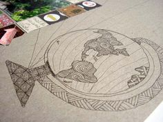 love this sketched globe by Katie from Punk Projects