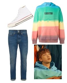 """Spring Day: Rap Monster [4/4]"" by kbelle28 ❤ liked on Polyvore featuring Palm Angels, Topman, Converse, men's fashion and menswear"