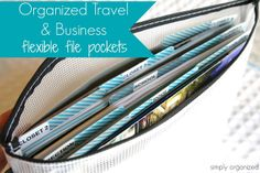 simply organized: organized travel: flexible & zippered file pockets