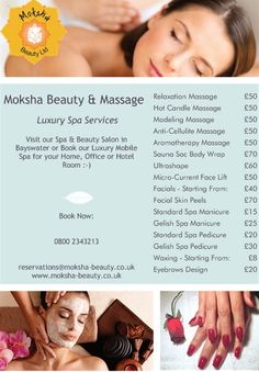 Our newest flyer with unbeatable prices. Come  get an amazing massage, fabulous pedicure & manicure, beautiful facials, brazilian wax, bikini wax, re-energizing and slimming body wrap, eyebrow design...