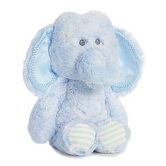 HUGGIE BABY ELEPHANT - BLUE This cute blue elephant has stripes on its foot pads and is baby soft with satin ear detailing and crinkle sound! Elephant Stuffed Animal, Baby Elephant, Toys Online, Prams, Baby Blue, Gifts For Kids, Aurora, Infant, Teddy Bear