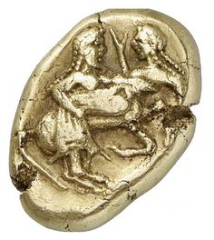(Macedonia) Extremely Rare Electrum Stater. circa  500-450 BCE. this Electrum Stater was minted by the Orrescii, an ancient Thraco-Macedonian tribe. It shows a centaur carrying off a struggling nymph.