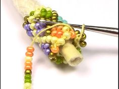 Bead crochet around a core of piping for support on large diameter tubes - YouTube