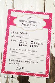 Free Printable Letters to Santa via Amy Huntley (The Idea Room)