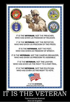 A veteran – whether active duty, retired, National Guard or Reserve – is someone who at one point in his/her life wrote a blank check made payable to the United States of America for an amount of '… Military Quotes, Military Love, Military Honors, Military Gifts, Military Police, Military Service, Military History, Freedom Of The Press, Freedom Of Speech