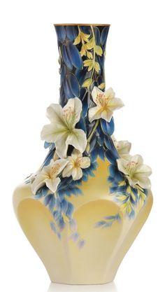 FZ03234 Franz Porcelain Hong Kong Orchid Tree Vase (Ltd 2,000) Найдено на сайте ebay.com