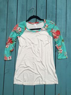 Floral Sleeved Baseball Tee in Mint