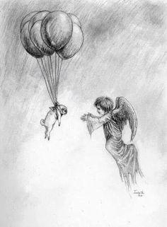 Angel pug going to heaven