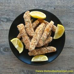Oven Baked Fish Sticks with Lemon Caper Dill Sauce