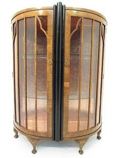 A beautiful art deco walnut #bowed #display #cabinet   c 1920,  View more on the LINK: http://www.zeppy.io/product/gb/2/281833747430/
