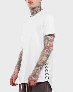 Hip hop streetwear lace up t shirt for men plain black high low tops