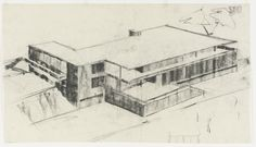 """Tugendhat House, Brno, Czech Republic  Ludwig Mies van der Rohe (American, born Germany. 1886–1969)    1928-1930. Charcoal on tracing paper, 16 1/2 x 29 1/2"""" (41.9 x 75 cm). Mies van der Rohe Archive, gift of the architect. © 2012 The Museum of Modern Art, New York"""