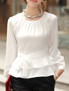 FloryDay / New Year Sale Elegant Round Neckline Long Sleeve, Blouses Blouse Styles, Blouse Designs, Trendy Fashion, Fashion Outfits, Fashion Trends, Fashion Blouses, Mens Fashion, Street Fashion, Fashion Tips