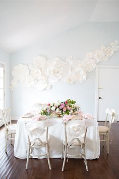 Julie's Baby Shower | TOAST California | Baby Shower | Paper Floral Wall Decoration | Pink and White | Party Ideas and Celebration Inspiration | HOORAY! Mag