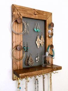 Mini Amazing Ash and Bronze Wall Mounted Jewelry Organizer Wall