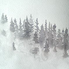 Foggy watercolor trees