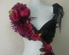 Dark Fairy Monikini- Rave Bra Custom Event Outfit Black Spikes, Dark Red Rose, Black Mesh skirt