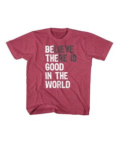 Vintage Red Heather 'Believe' Crewneck Tee - Toddler & Kids