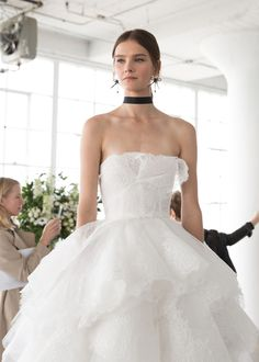 f8ca0c7d2e9 marchesa spring 2018 bridal strapless straight across neckline light  embellishment tiered skirt princess romantic ball gown wedding dress chapel  train mv ...