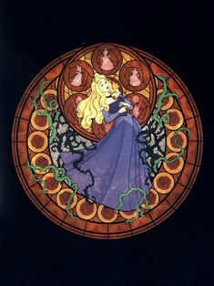 Princess Aurora stained glass art from Kingdom Hearts