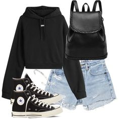 A fashion look from October 2016 featuring hooded sweatshirt, jean shorts and black sneakers. Browse and shop related looks. Teen Fashion Outfits, Edgy Outfits, Retro Outfits, Grunge Outfits, Dance Outfits, Cute Comfy Outfits, Cool Outfits, Summer Outfits, Mein Style