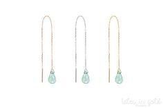 Blue Opal Earrings October Birthstone Earrings Gold Chain