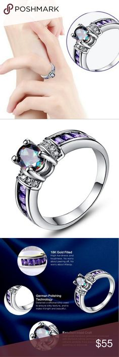 Rainbow diamond cut 18k gold plated ring Rainbow diamond cut high technique cut filled with white topaz and Amethyst stones wedding ring. Size 6. Amazingly beautiful rainbow topaz main stone captures in the prong.  5% off towards bundle discount of 2 + listings. STARCREST Jewelry Rings