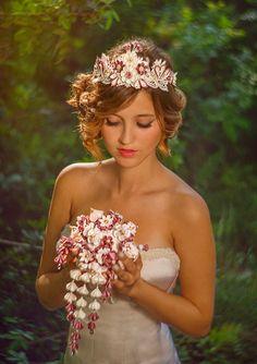 Helene Cascading Bridal Bouquet Ivory & by PetiteLumiereCo